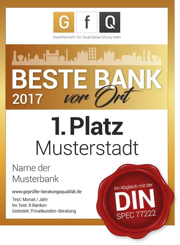 """BESTE BANK vor Ort // Siegel bzw. Auszeichnung der GfQ - Quelle: """"obs/Gesellschaft für Qualitätsprüfung mbH/Iris Fürderer, Geschäftsführerin der GfQ"""""""
